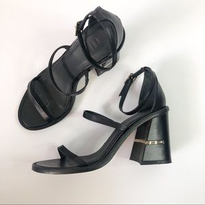 Tibi Chloe Seta Calf Black Block Heel Sandal
